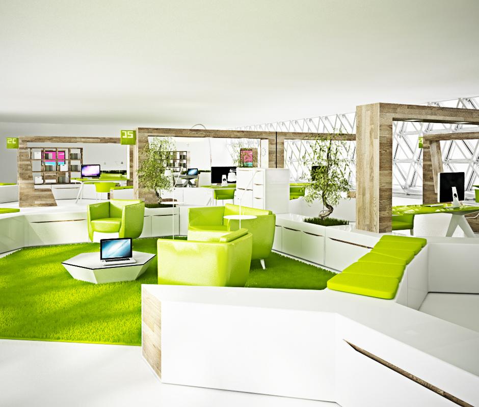 Scent of garden apartment brain factory for Green office interior design